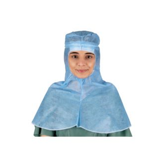 Single-Use Spunlace Viscose Over the Shoulders Hood with Sweatband and Ties