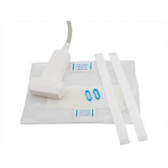 Probe cover kit with adhesive